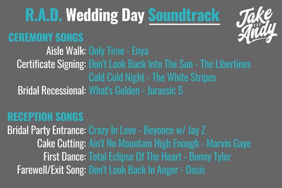 Jake And Andy Rad Wedding Soundtrack Rach Bill