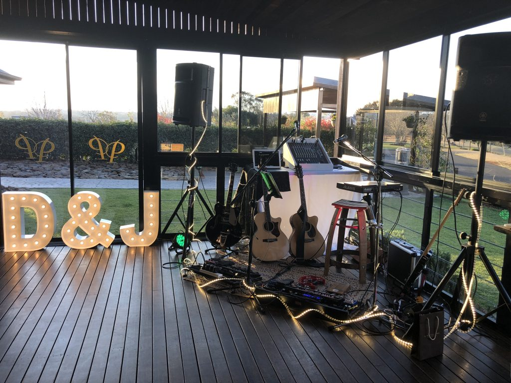 live band setup at wedding reception
